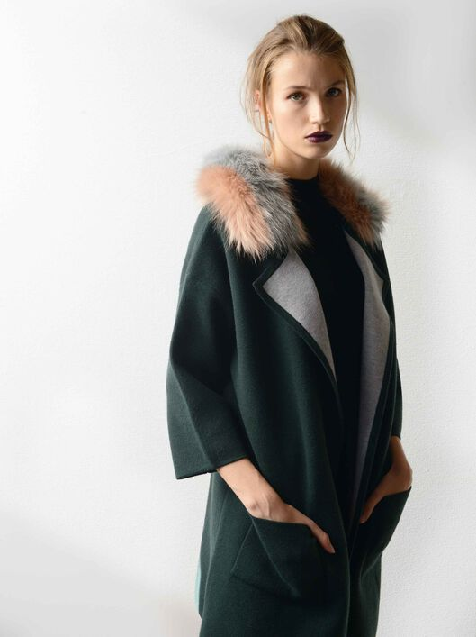 Faux Fur Detail Jacket, Green, hi-res