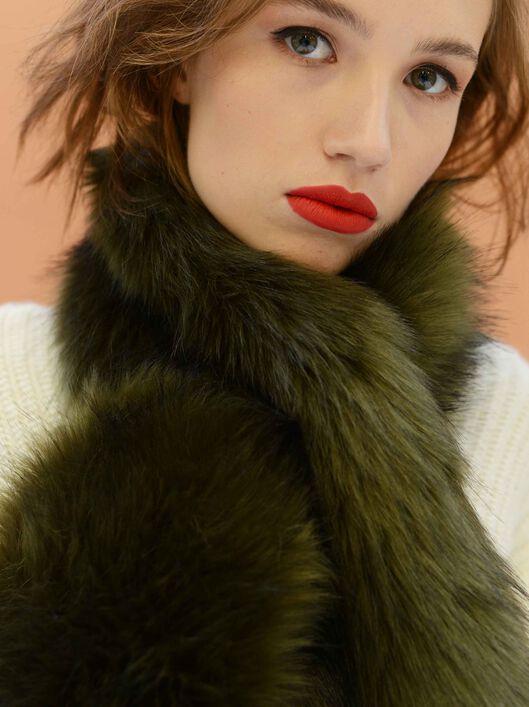 Faux Fur Stole, Dark Green, hi-res