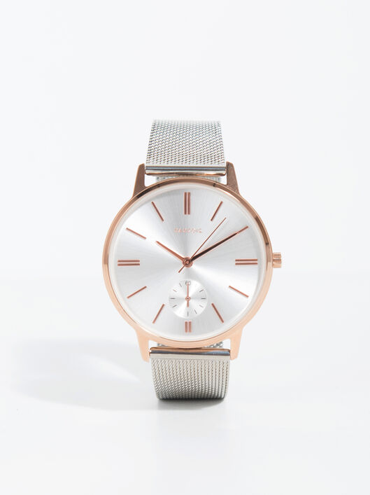 Rose Gold Tray Watch, Silvered, hi-res