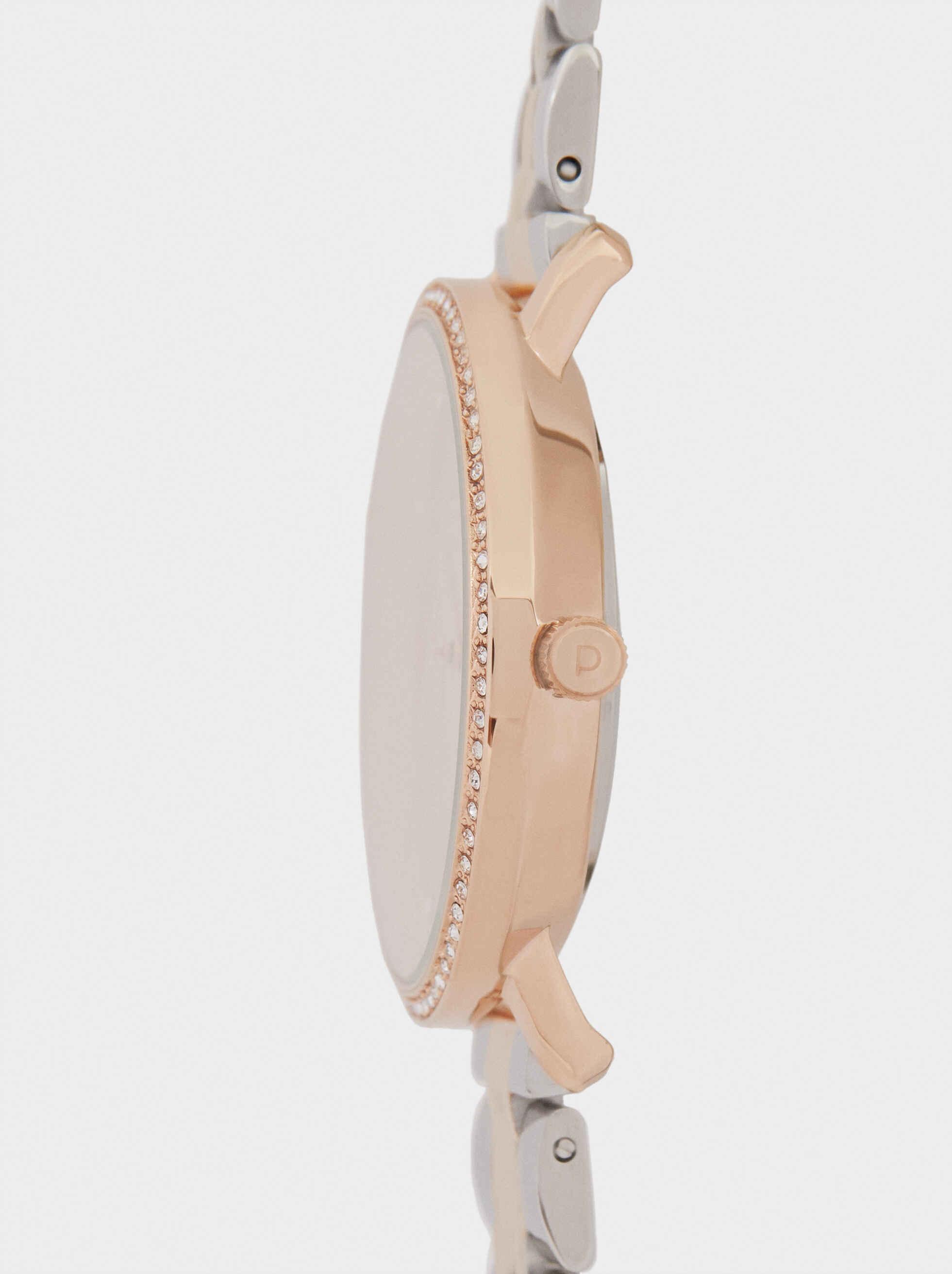 Reloj Correa De Acero Esfera Con Brillantes, Plateado, hi-res