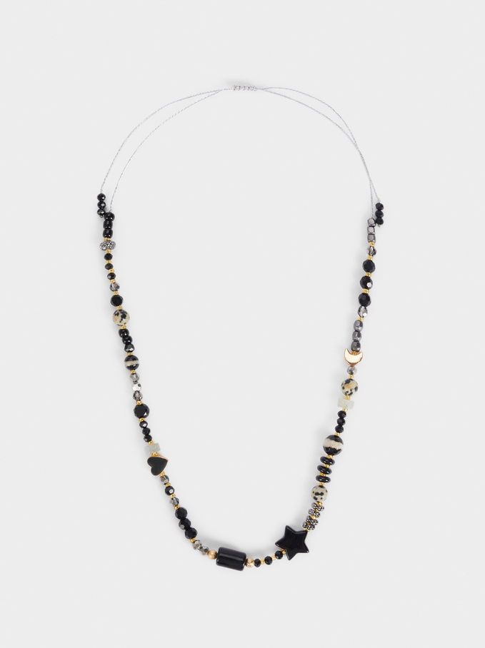 Short Necklace With Charms And Pearls, Black, hi-res