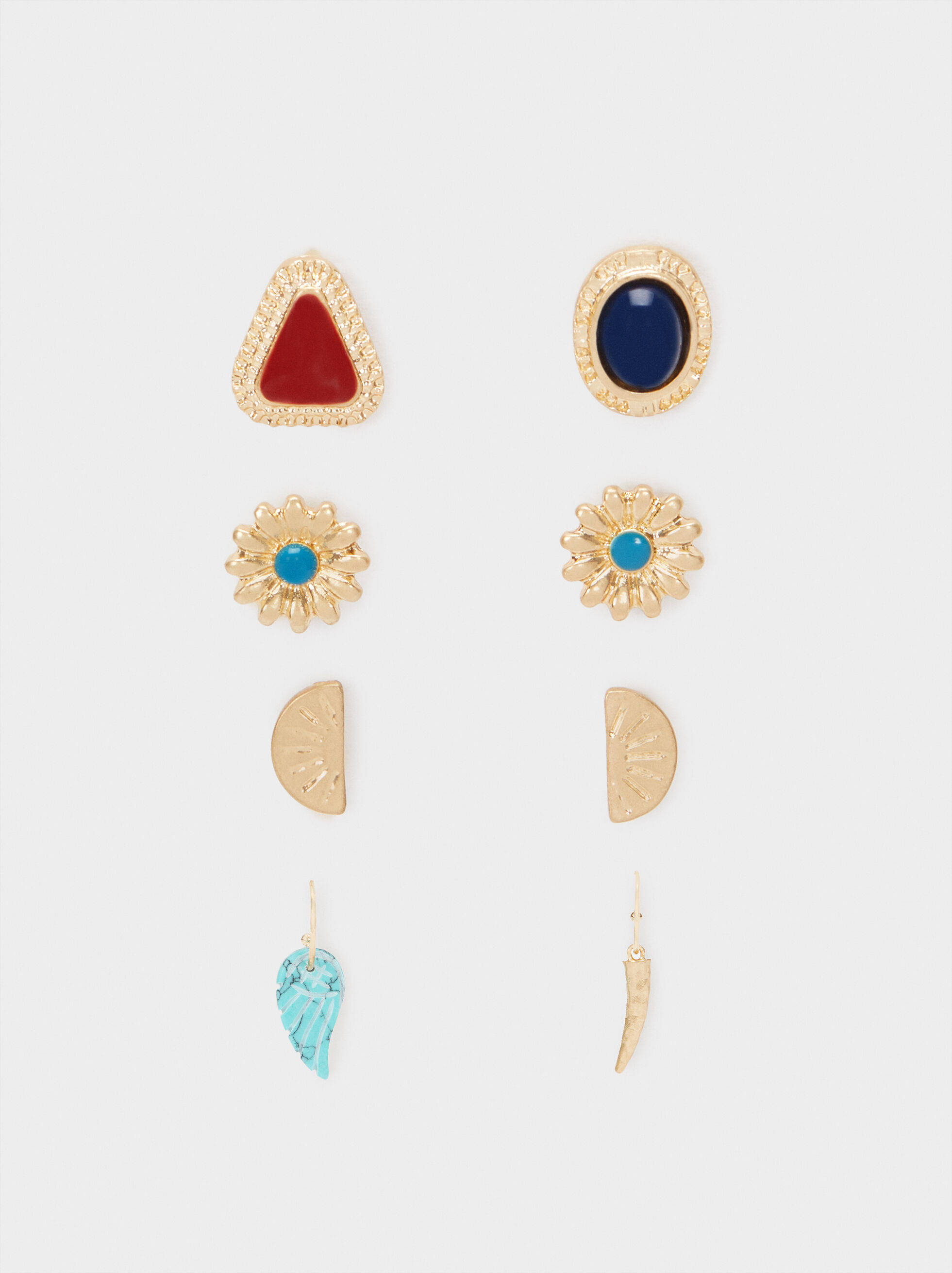Earring Set With Multicoloured Stones, Multicolor, hi-res