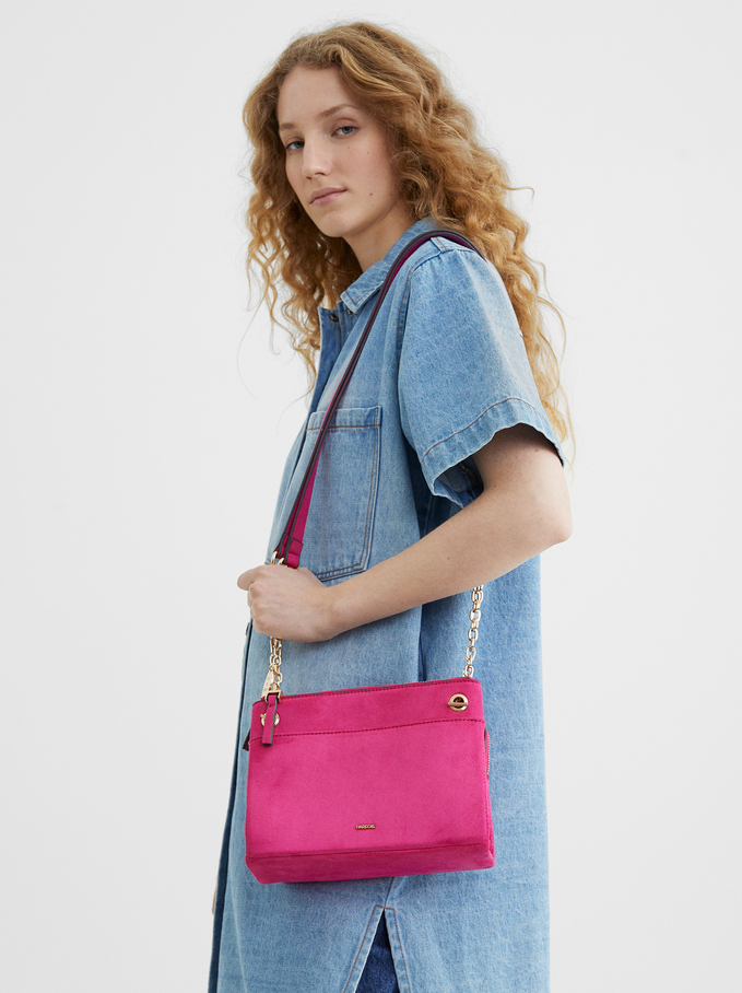 Fake Suede Crossbody Bag, Pink, hi-res