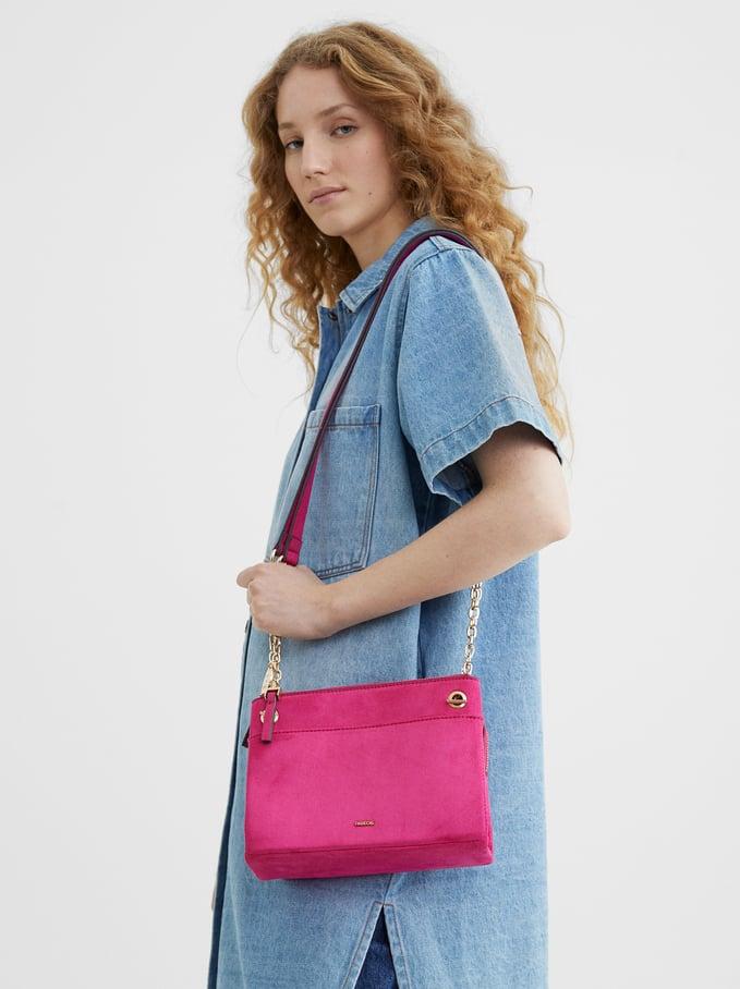 Fake Suede Crossbody Bag, Pink, hi-res