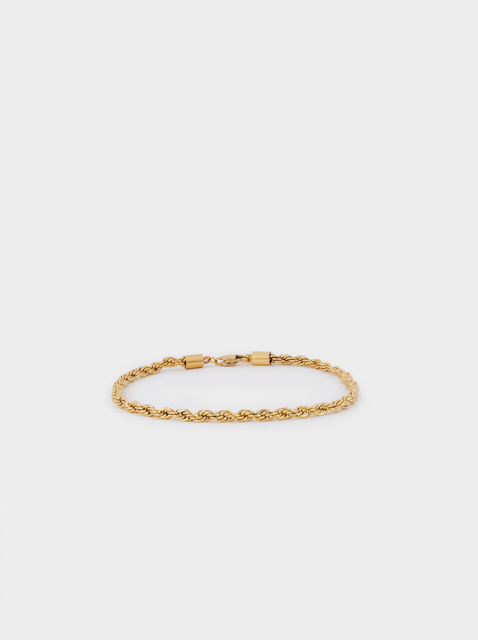 Stainless Steel Golden Anklet Bracelet, Golden, hi-res