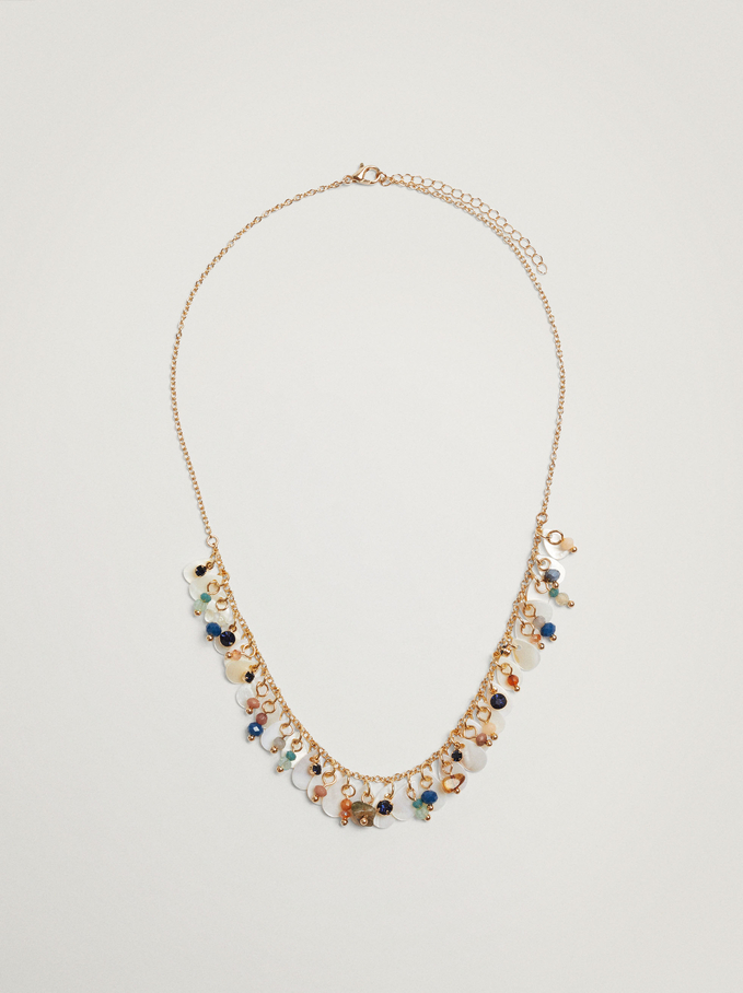 Short Necklace With Pearls And Stones, Multicolor, hi-res