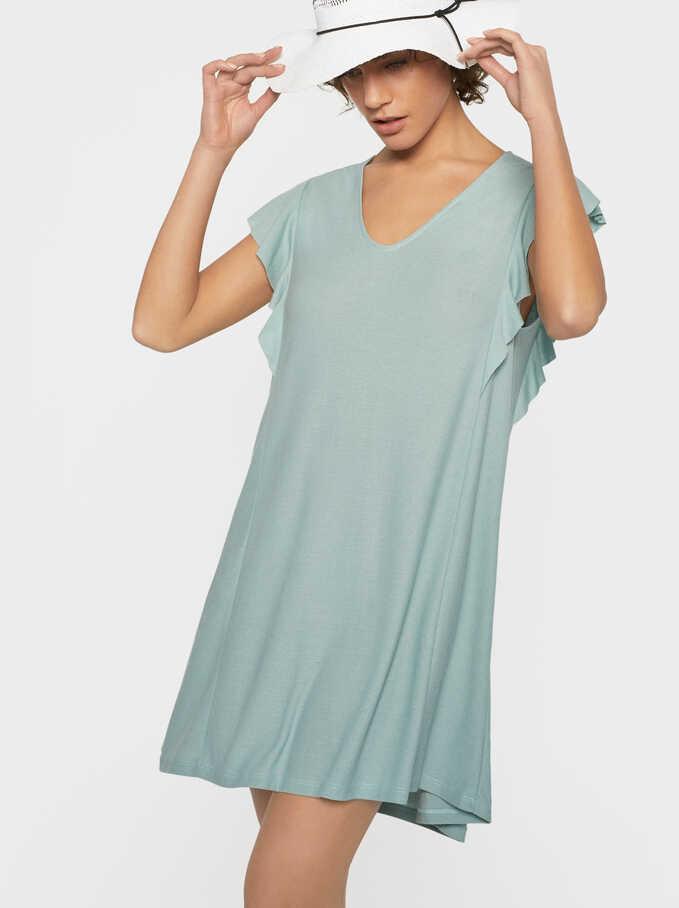 Flowing Ruffled T-Shirt, Green, hi-res