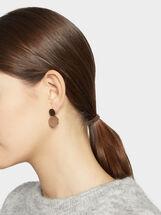 Two-Tone Steel Short Earrings, Multicolor, hi-res