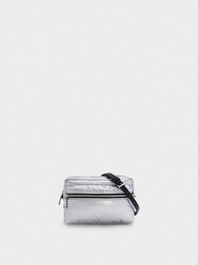 Nylon Crossbody Bag, Silver, hi-res