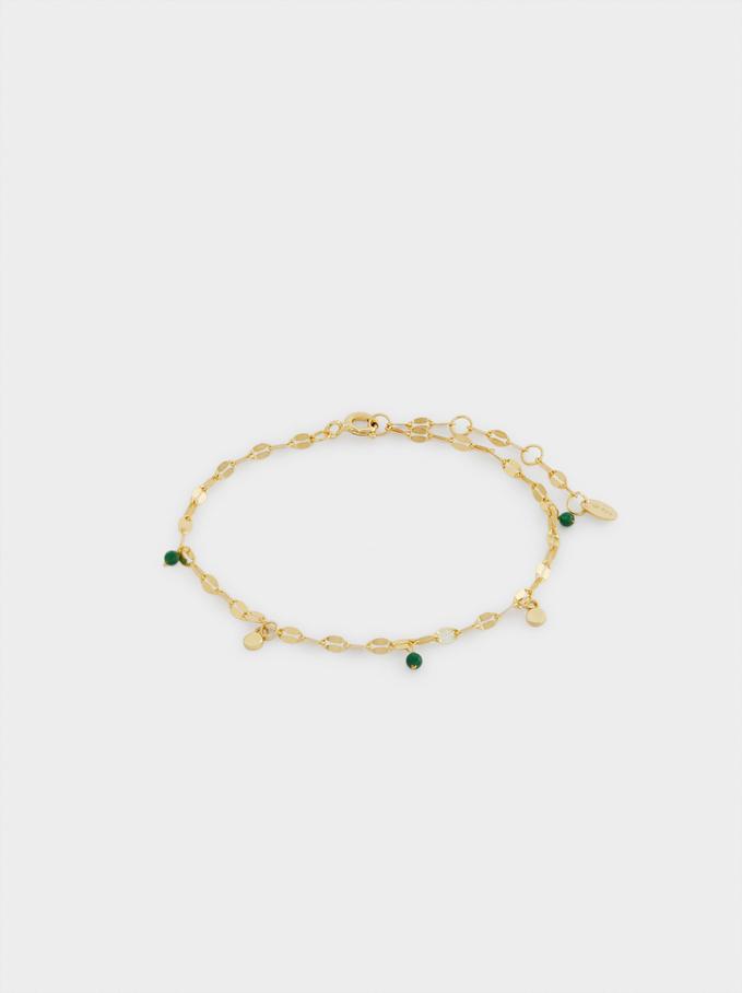 Adjustable 925 Silver Bracelet With Beads, Green, hi-res