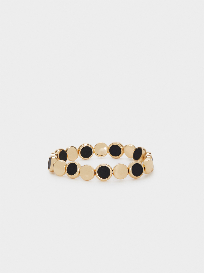 Enamel Elastic Bracelet, Black, hi-res