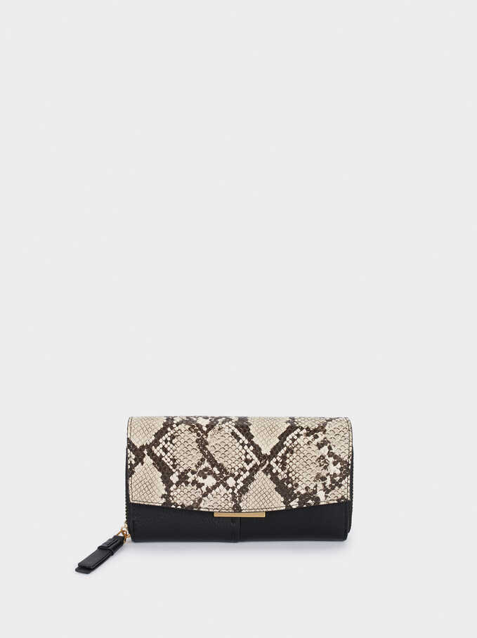 Embossed Snakeskin Print Purse, Black, hi-res
