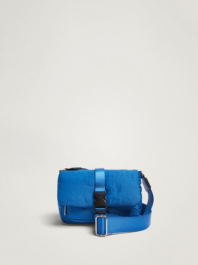 Nylon Crossbody Bag With Buckle, Blue, hi-res