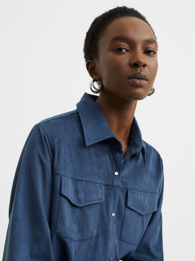 Suede Texture Shirt Dress, Blue, hi-res