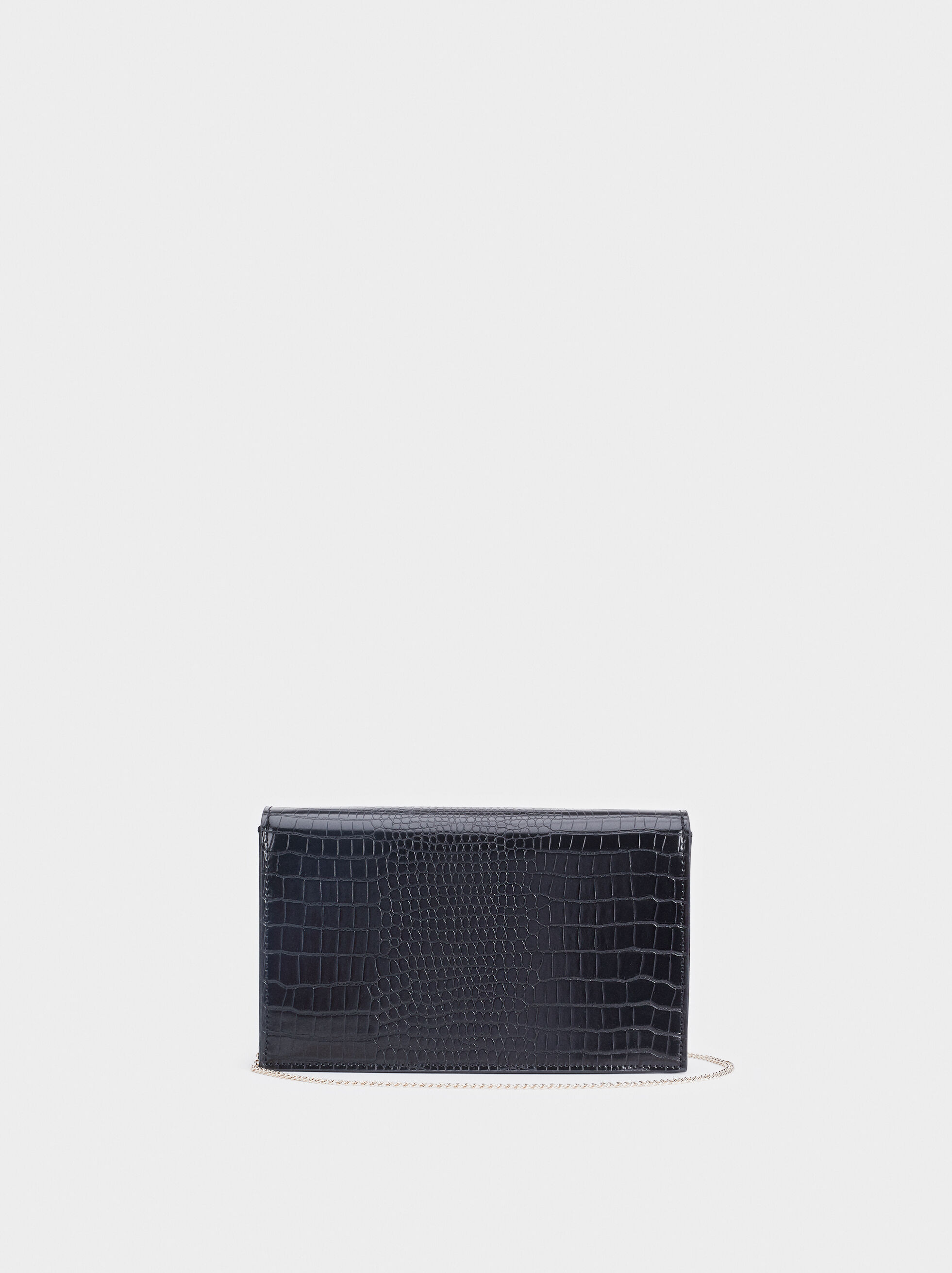 Embossed Animal Print Party Clutch, Black, hi-res