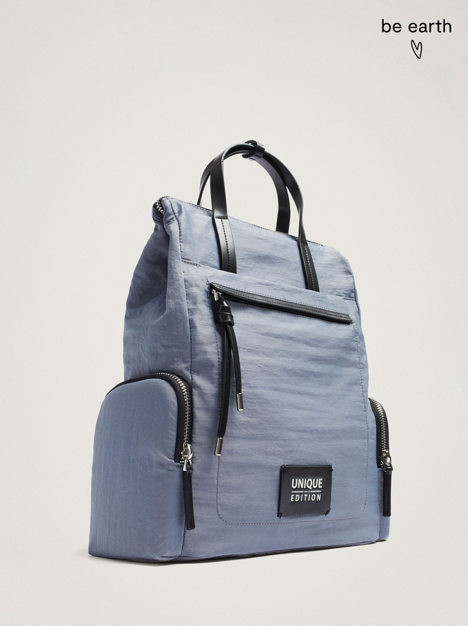 Nylon Backpack Made From Recycled Materials, Blue, hi-res
