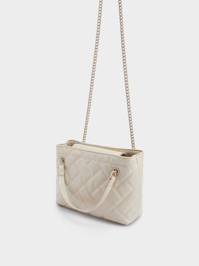Quilted Shoulder Bag With Chain Handle, Ecru, hi-res