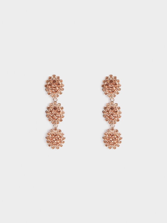Sparkling Long Rhinestone Earrings, Orange, hi-res