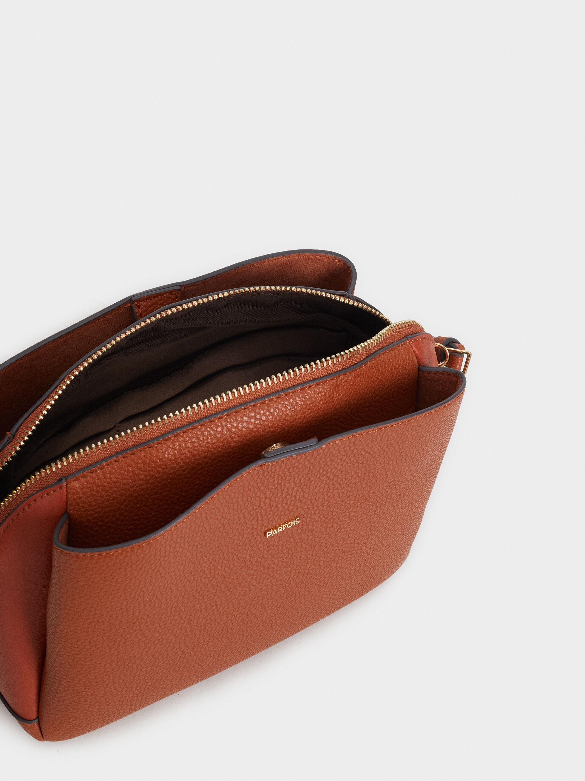 Faux Leather Crossbody Bag, Camel, hi-res