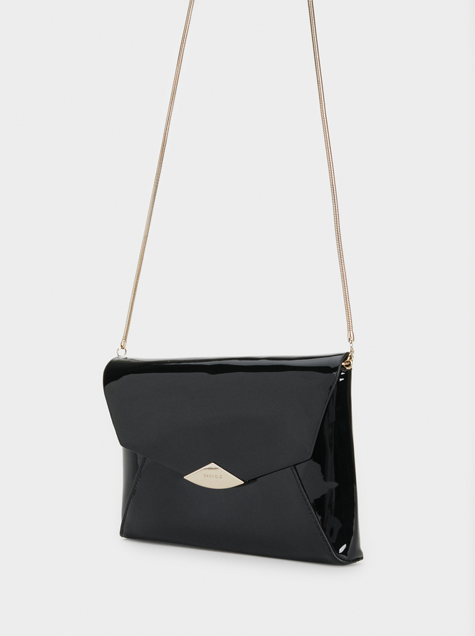 Faux Patent Party Clutch, Black, hi-res