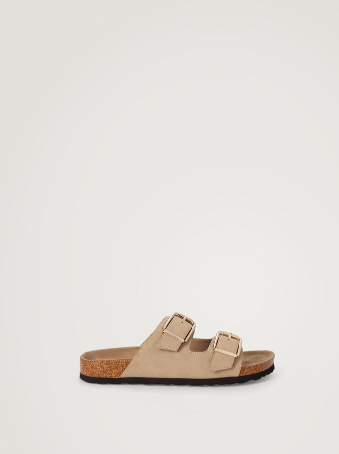 Sandales Plates À Boucles, Beige, hi-res