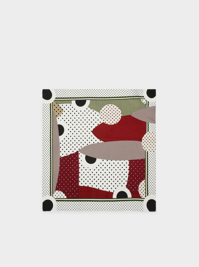 Printed Square Neckerchief, Brick Red, hi-res