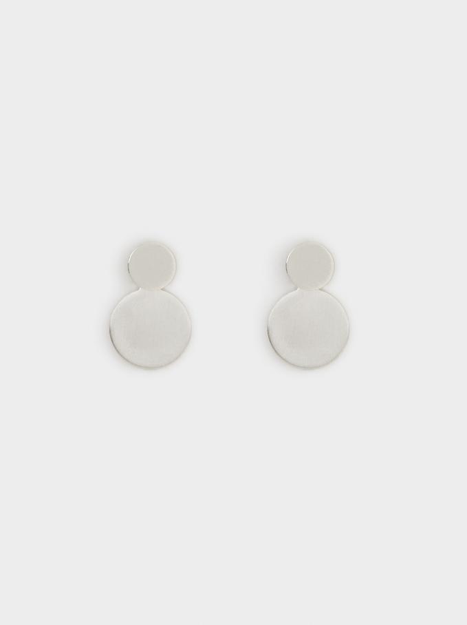 Short Geometric Earrings, Silver, hi-res