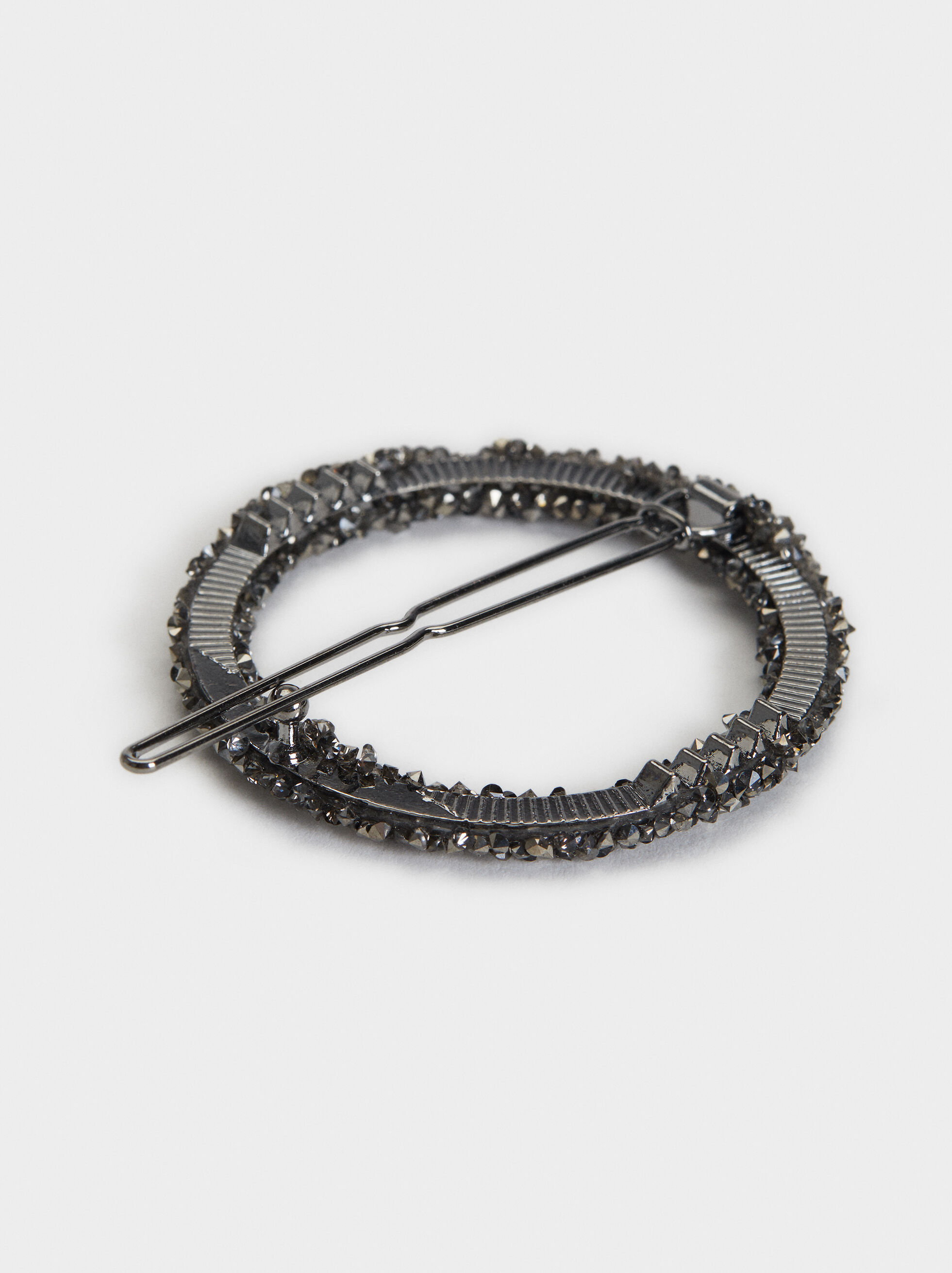 Bejewelled Hairclip, Black, hi-res