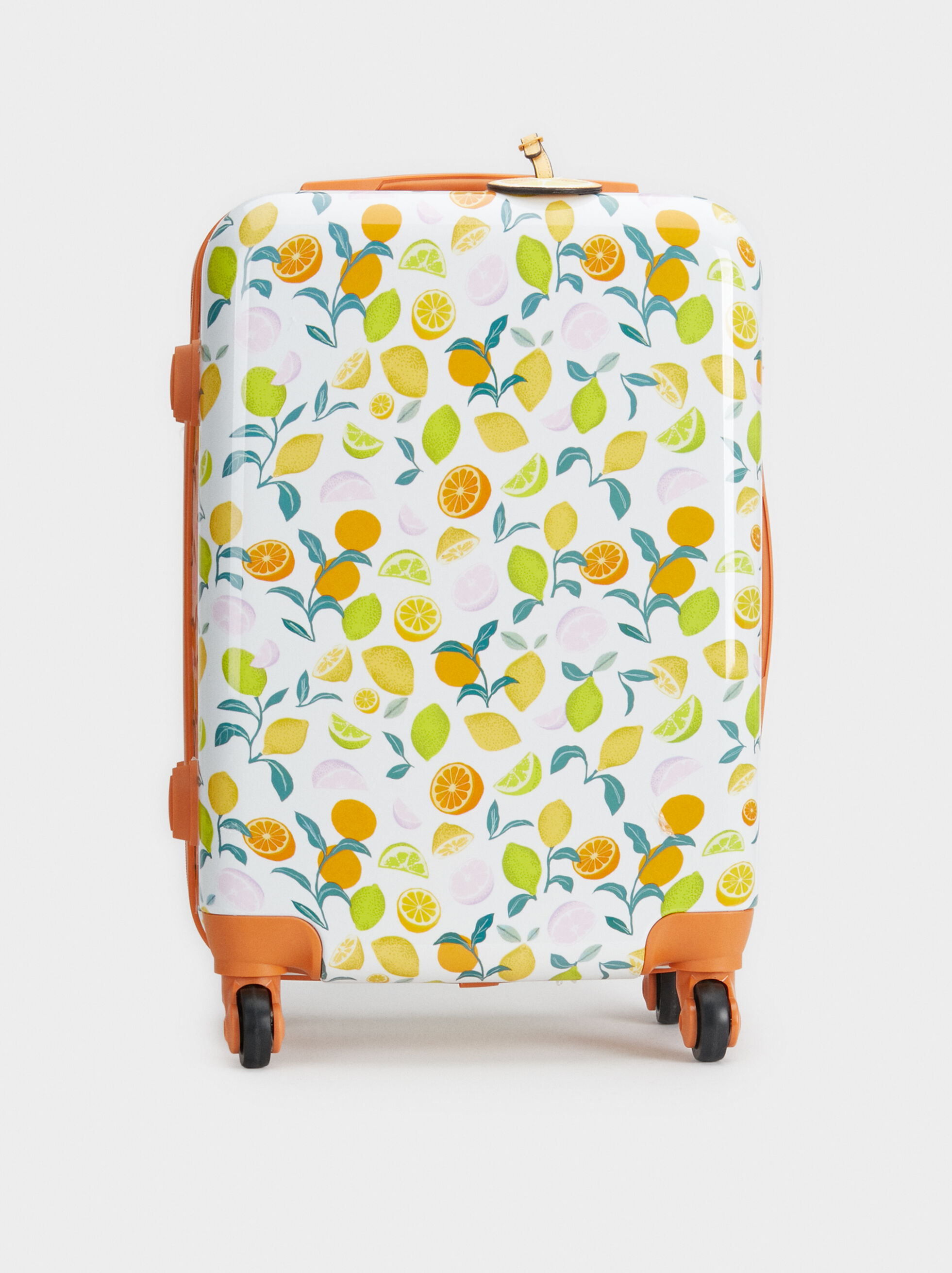 Fruit Print Trolley Suitcase, Orange, hi-res