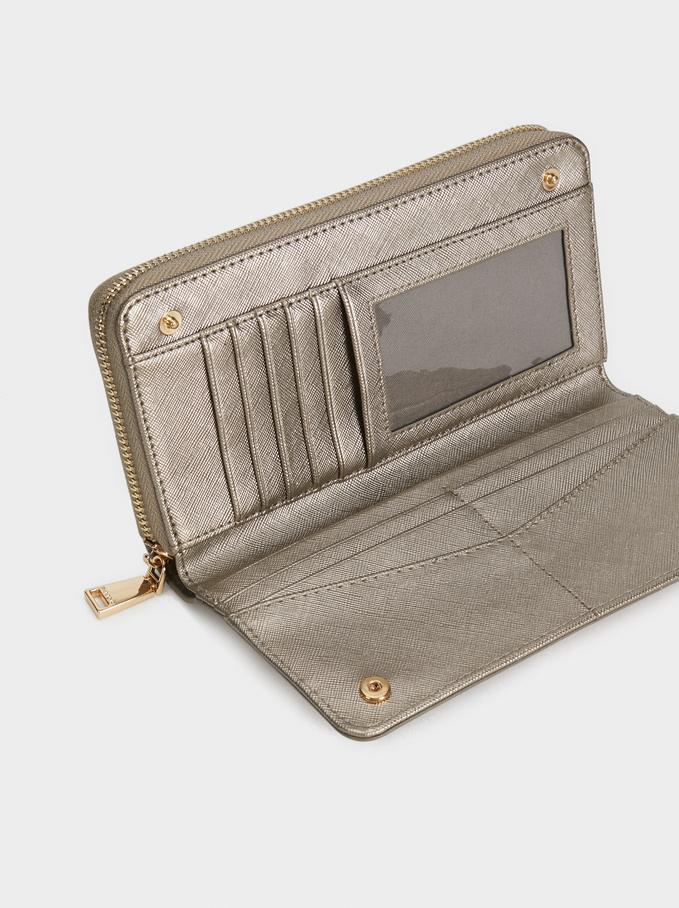Plain Long Wallet, Silver, hi-res