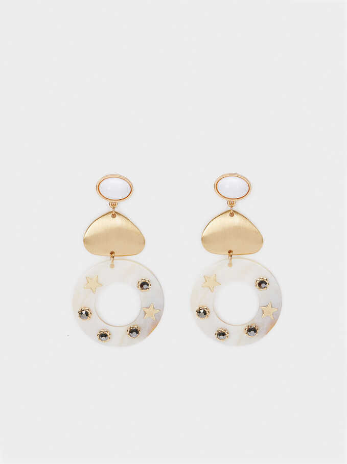 Long Seashell Earrings, White, hi-res