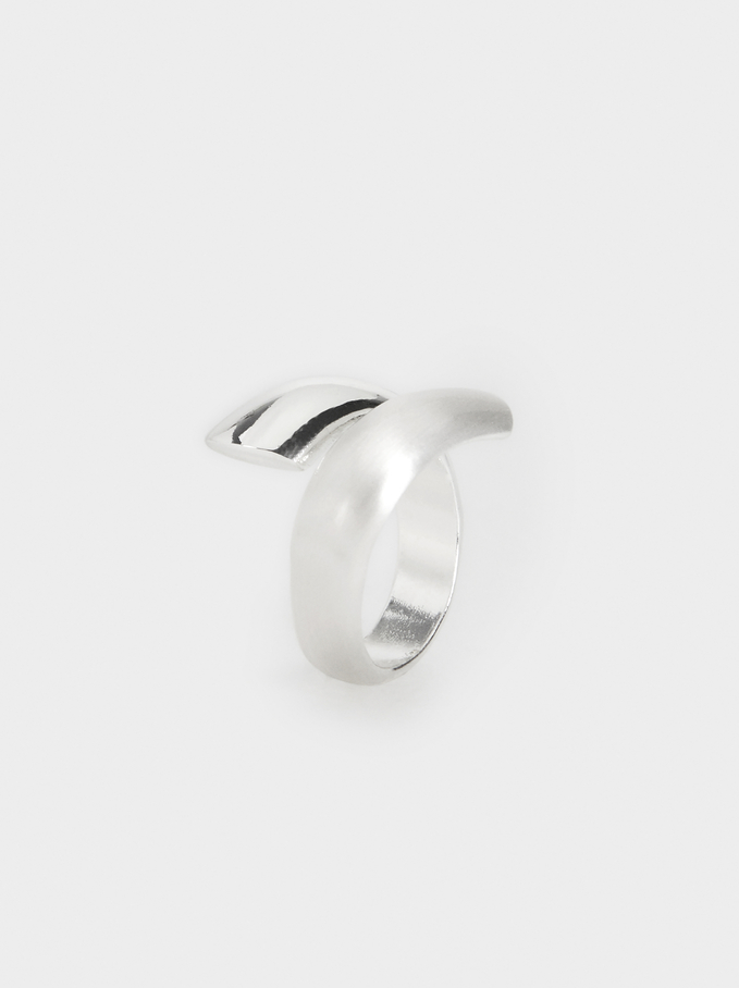 Silver-Plated Spiral Ring, Silver, hi-res