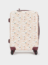 Stork Print Trolley Suitcase, Beige, hi-res