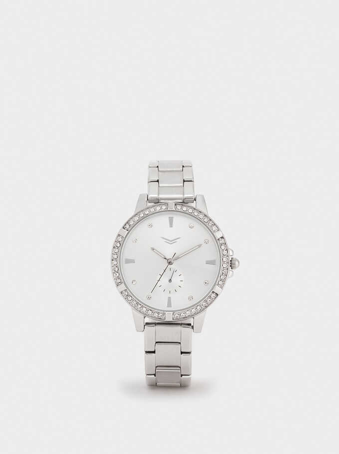 Watch With Steel Wristband And Gems On The Face, Silver, hi-res