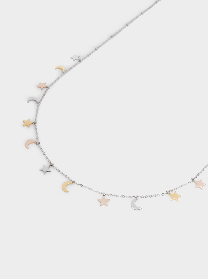 Short Stainless Steel Necklace With Charms, Multicolor, hi-res