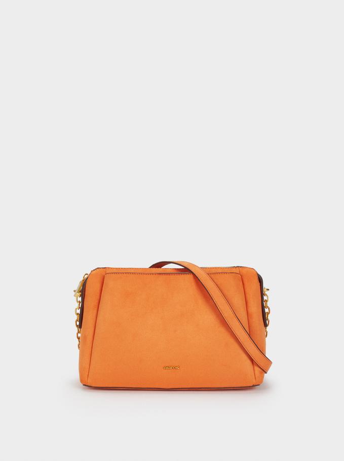 Suede Texture Shoulder Bag, Orange, hi-res