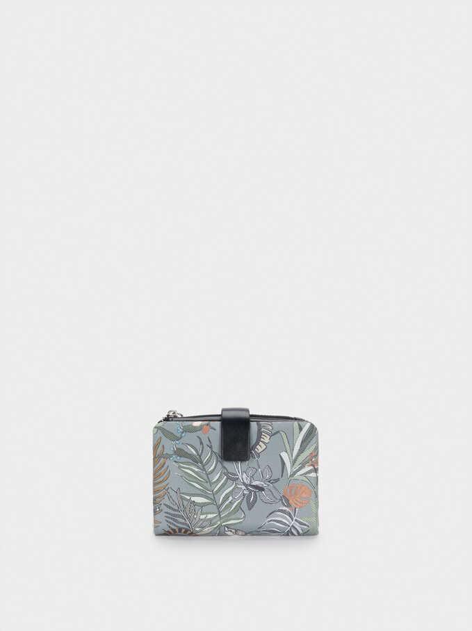 Compact Printed Nylon Wallet, Khaki, hi-res