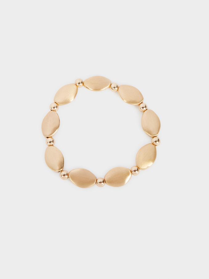 Gold-Toned Elasticated Bracelet, Golden, hi-res
