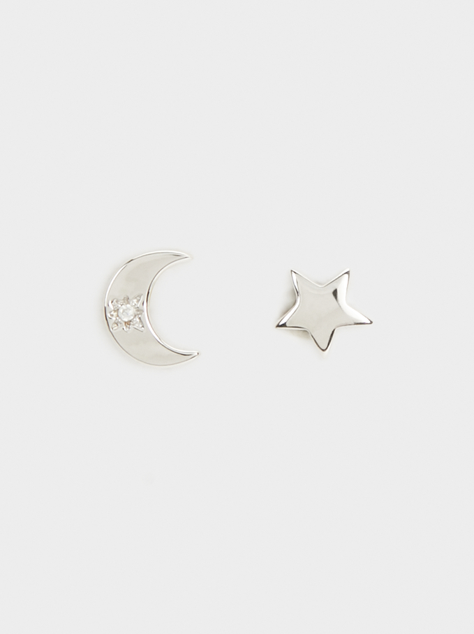 Short Silver 925 Star And Moon Earrings, Silver, hi-res