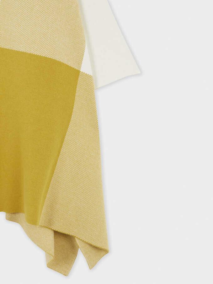 Printed Knit Poncho, Yellow, hi-res