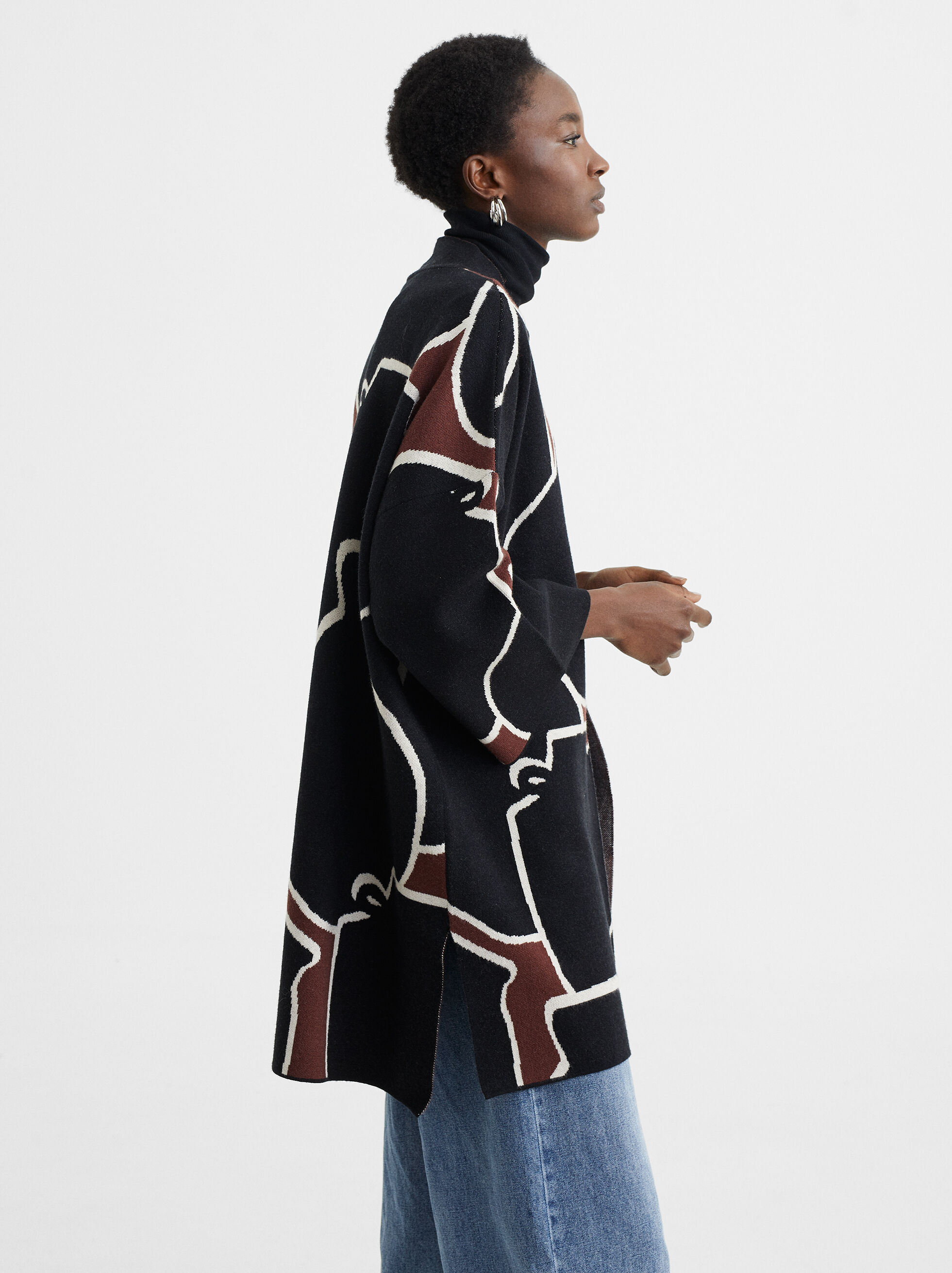 Printed Knitted Kimono, Bordeaux, hi-res