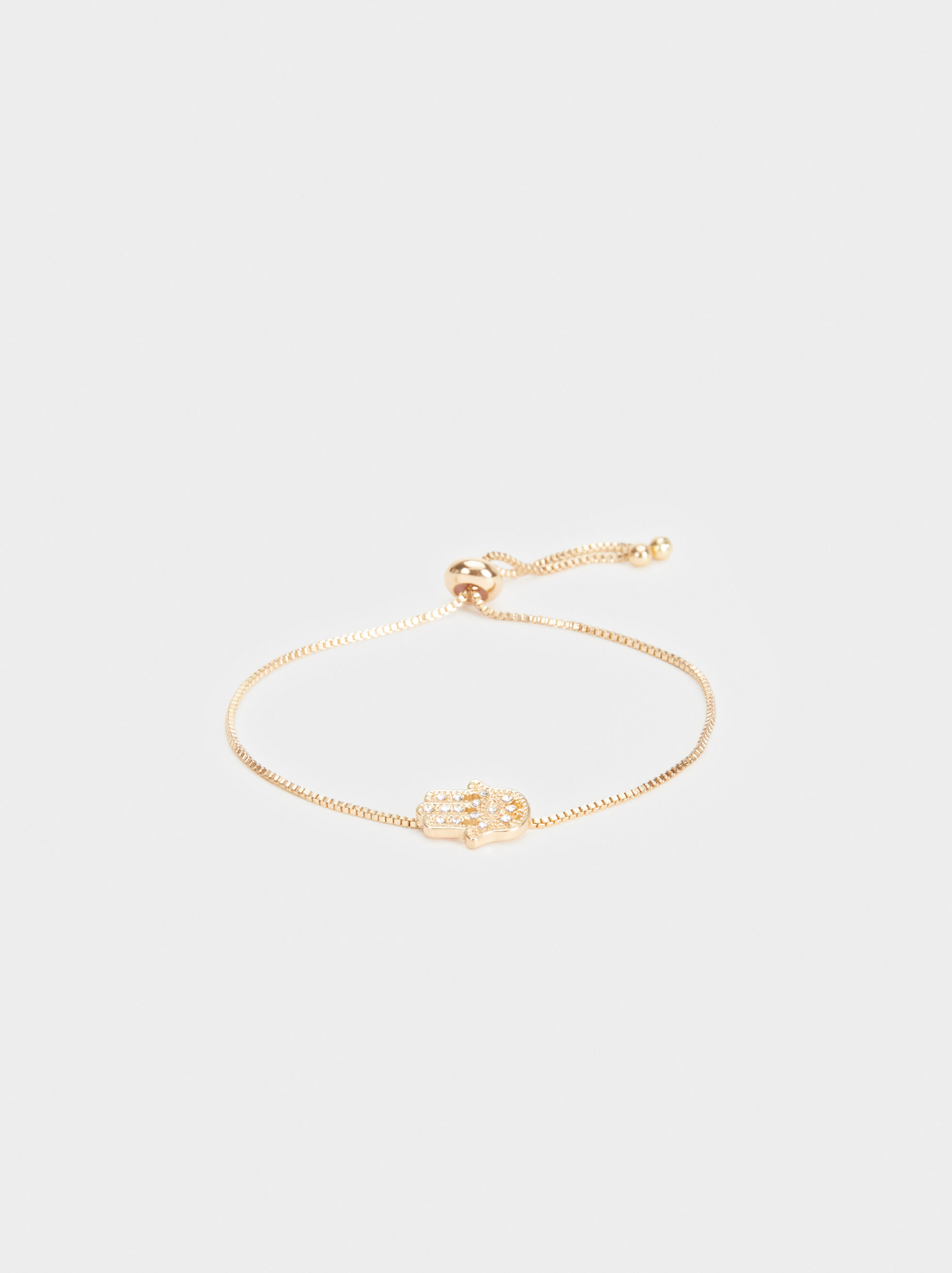 Adjustable Gold Bracelet With Hand Charm, , hi-res