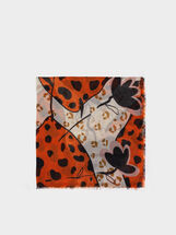 Multicoloured Print Scarf, Orange, hi-res