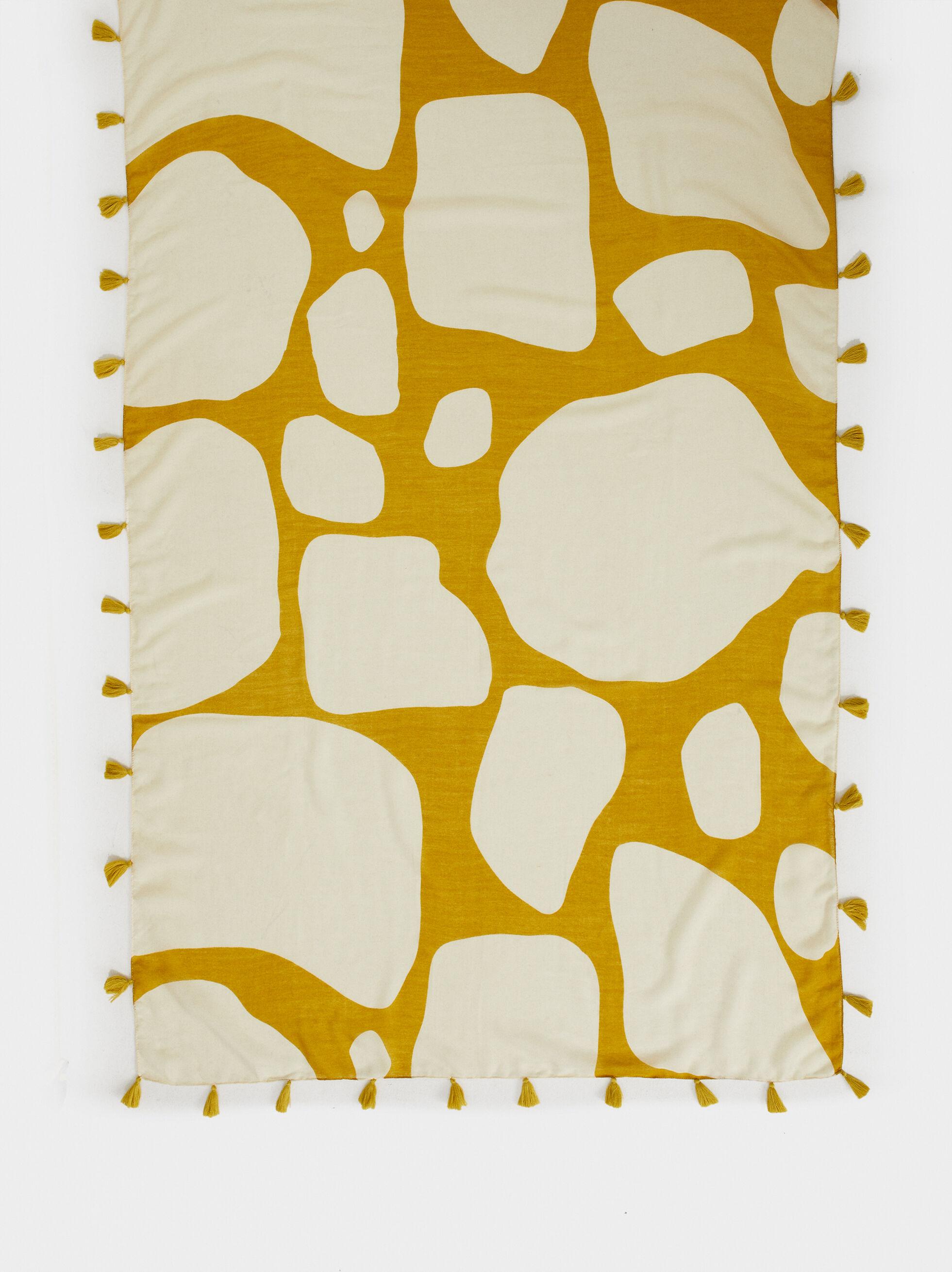 Animal Print Handkerchief With Tassels, Yellow, hi-res