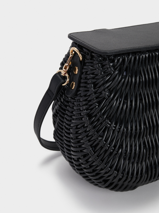 Straw Crossbody Bag With Gingham Lining, Black, hi-res