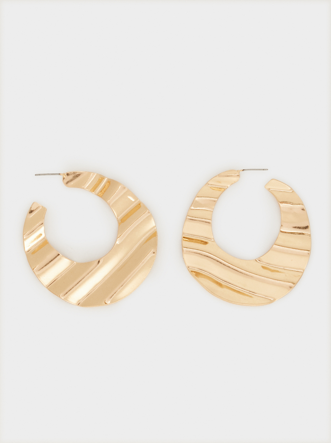 Hoop Fever Large Hoop Earrings With Wavy Design, Golden, hi-res