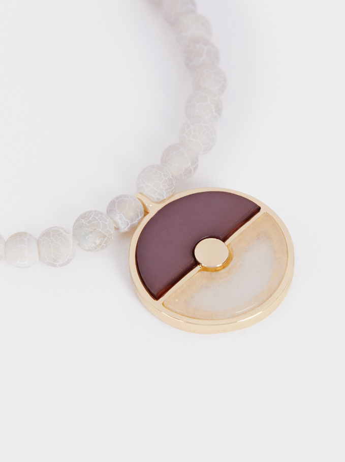 Short Combined Necklace With Stone, Multicolor, hi-res