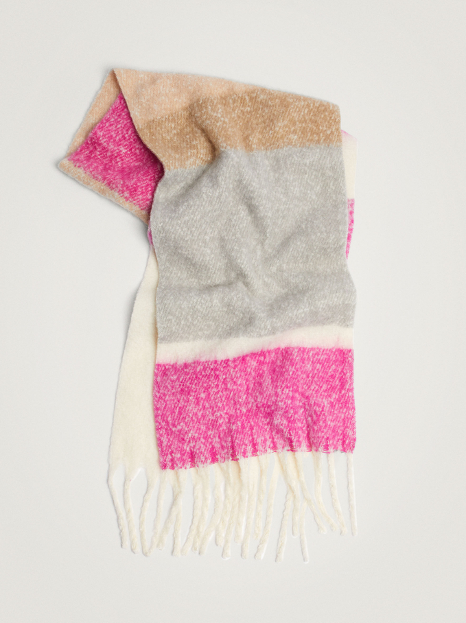 Printed Maxi Scarf With Fringing, Pink, hi-res