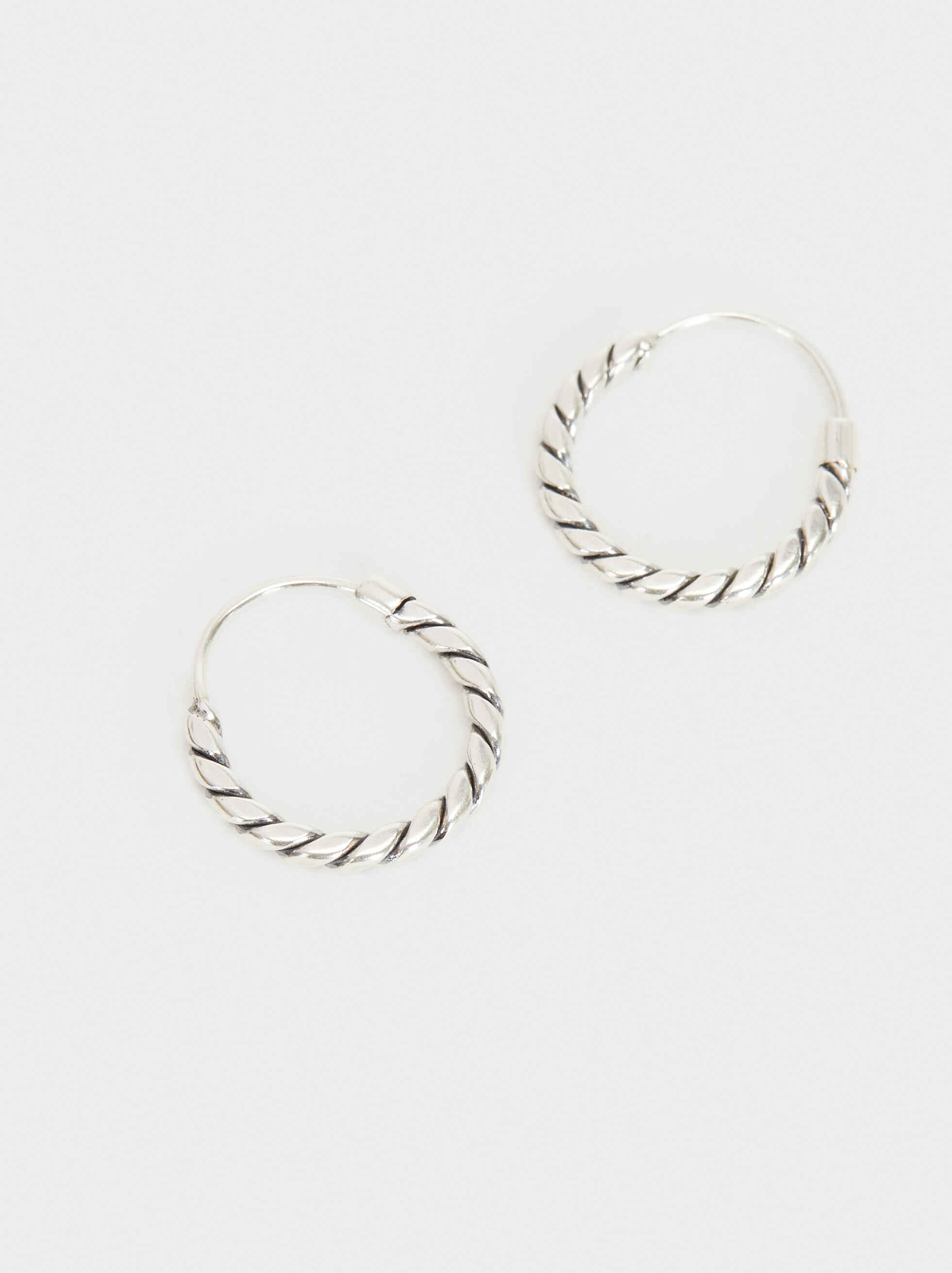 925 Silver Hoop Earrings, Silver, hi-res