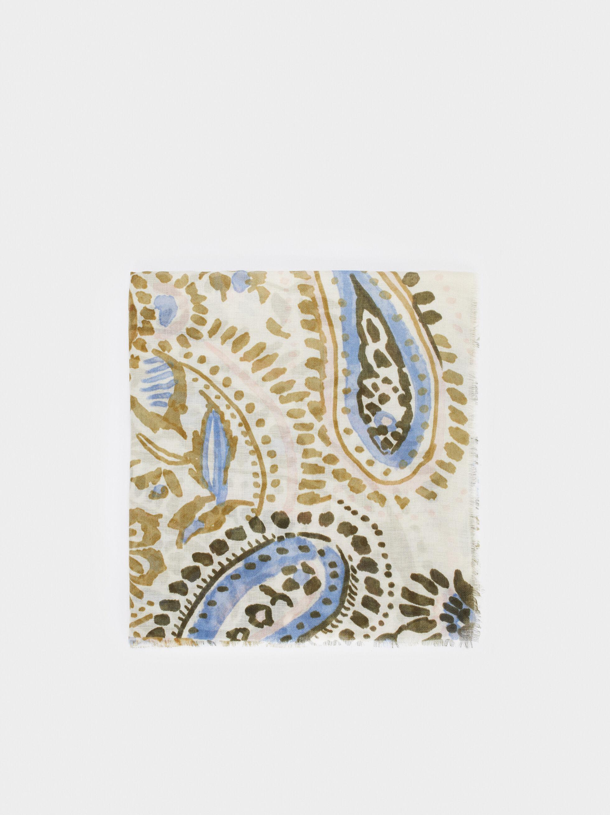 Paisley Print Scarf, Ecru, hi-res